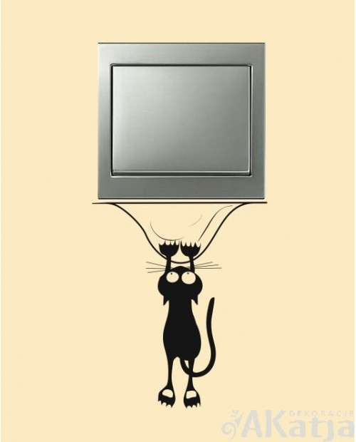 Naklejka na włącznik wiszący kotek