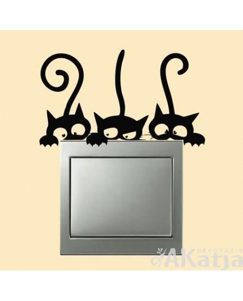 Naklejka na włącznik trzy kotki