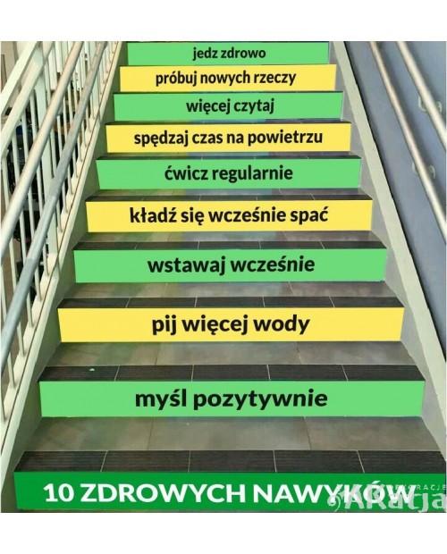 Naklejki na schody: 10 zdrowych nawyków